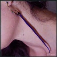 Rainbow Hematite Earrings – Primitive Brass Hoops with Purple Tendrils | faerwear