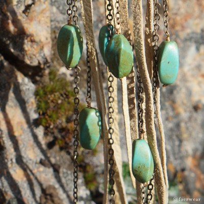 Lambskin chandelier earrings with turquoise | faerwear