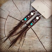 Brown Leather Earrings - Dryad Wings with Turquoise and Freshwater Pearls | faerwear