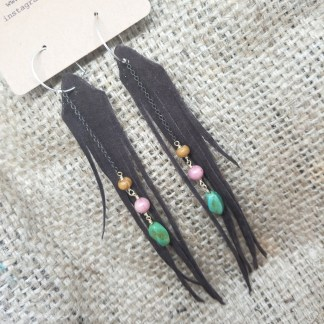 Long Brown Suede Fringe earrings with Turquoise and Gems | recycled leather jewelry, upcycled leather, made in california | faerwear