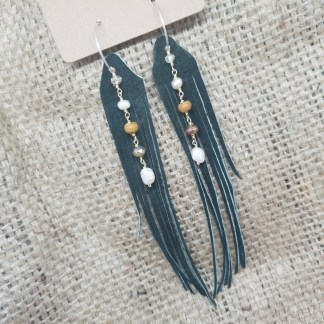 Long Green Leather Fringe earrings with pearls and crystal | upcycled leather jewelry, recycled leather jewelry, made in california, mt. shasta | faerwear