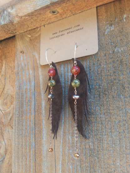 Brown Leather Feather earrings | Chocolate seraphim wings | faerwear