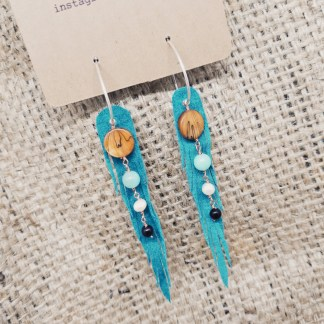 Nymph-cut teal leather earrings with shell and gems | upcycled leather jewelry, recycled leather | faerwear