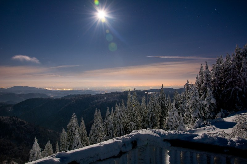 rheinebene at full moon, night photograph, snow