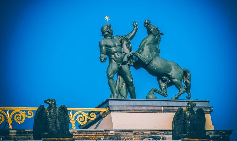 sculpture, male statue, horse