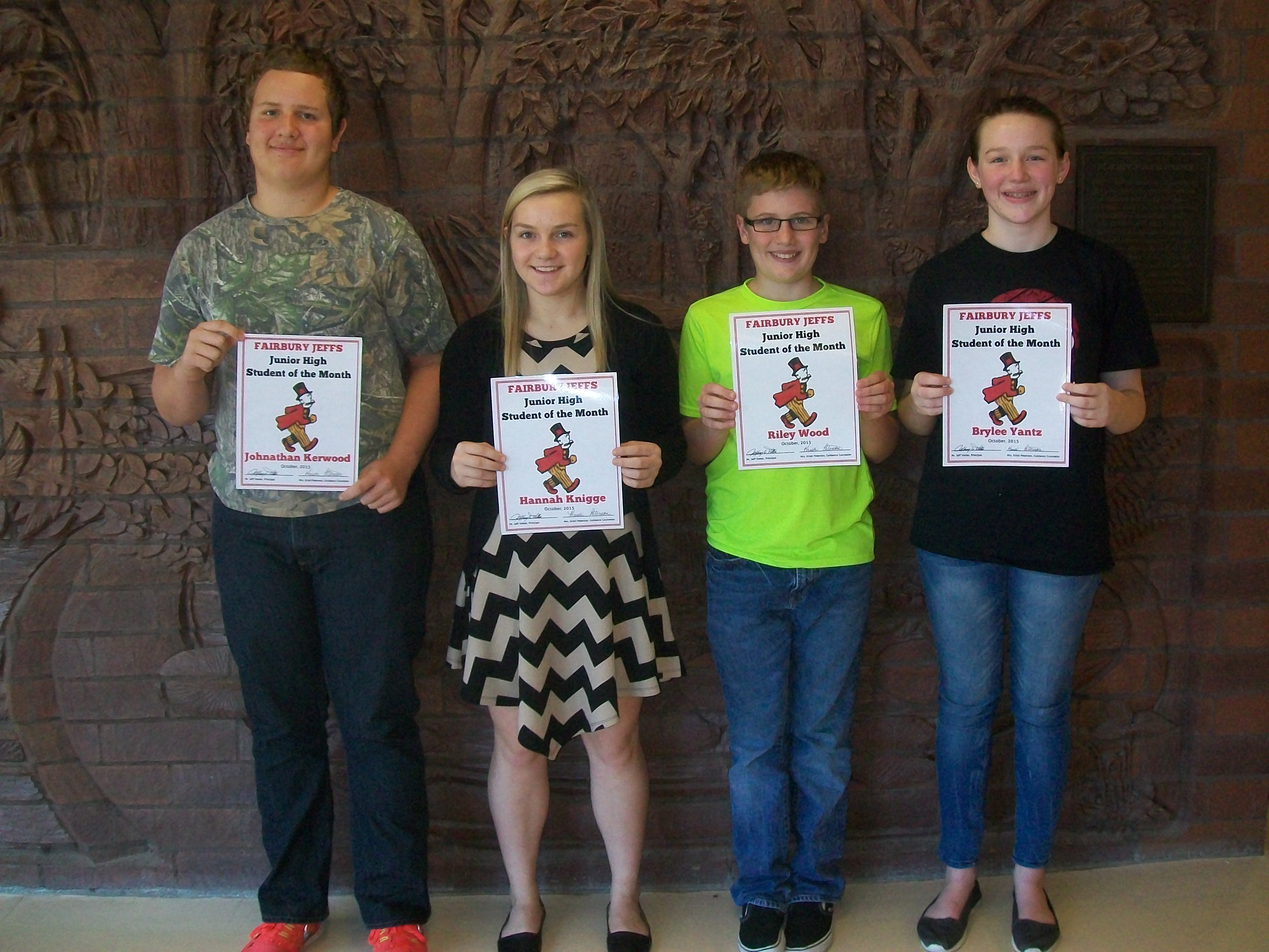 Junior High Students Of The Month