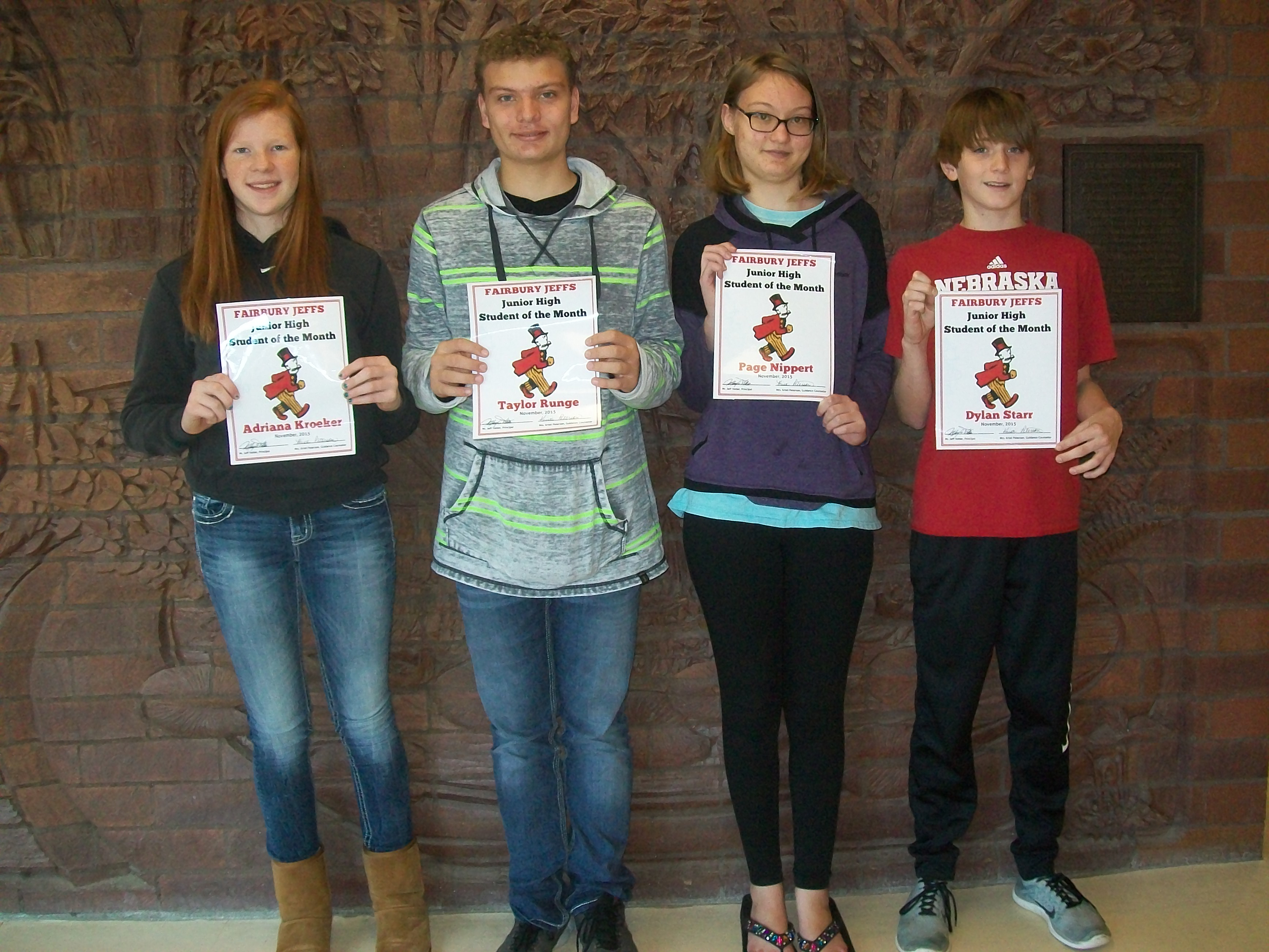 November Junior High Students Of The Month