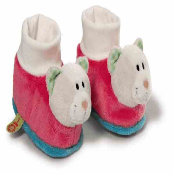 Babyschuhe der Firma Nici,in der Farbe rosa,mit einen Bärenkopf anden Füssen.