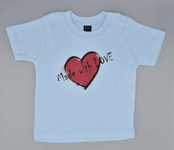 Baby T-Shirt Love hellblau