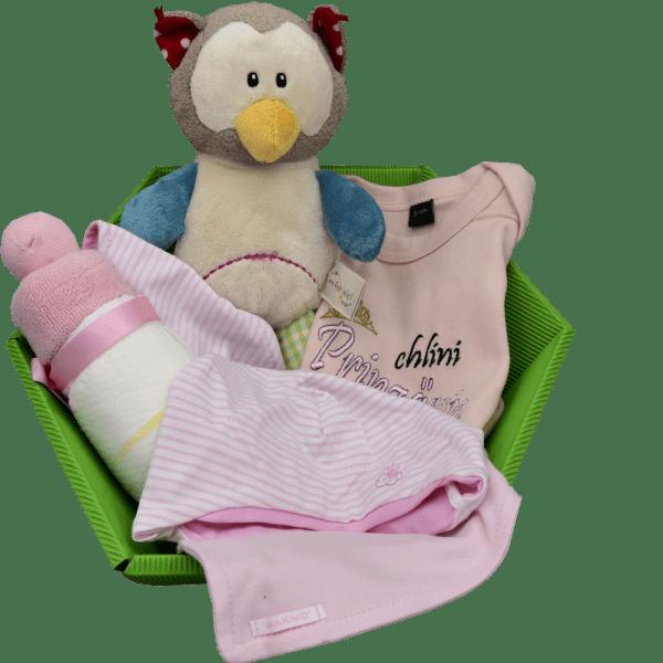 Baby Geschenkkorb rosa eule