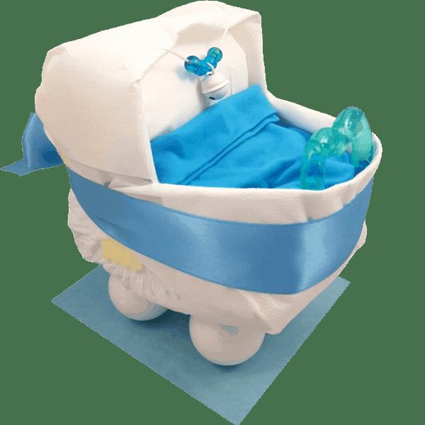Windelgeschenk Kinderwagen blau