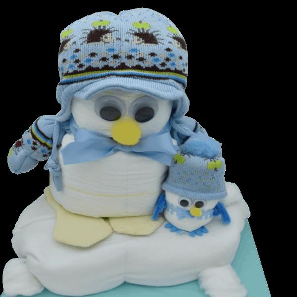 Windelgeschenk Pinguin blau