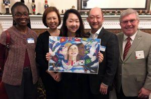 Kaitlin Yang, parents, art teacher Linda Ledbetter, and Lion Jeff Root contest chair