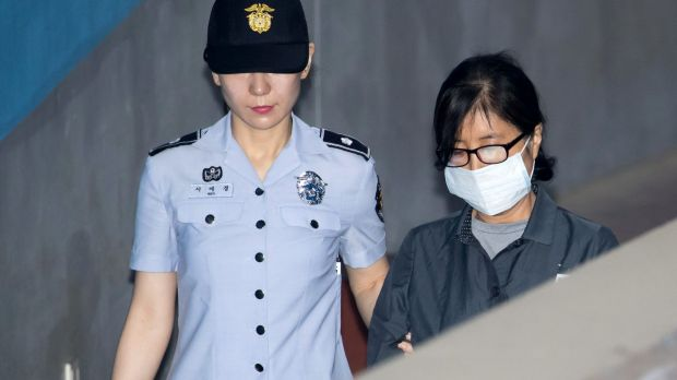 Choi Soon-sil, a long-time friend of Park Geun-hye, at the Seoul Central District Court on Monday, July 10.