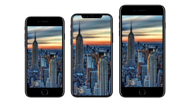 Designer Benjamin Geskin imagines the new iPhone (centre), compared to the 7 and 7 Plus.