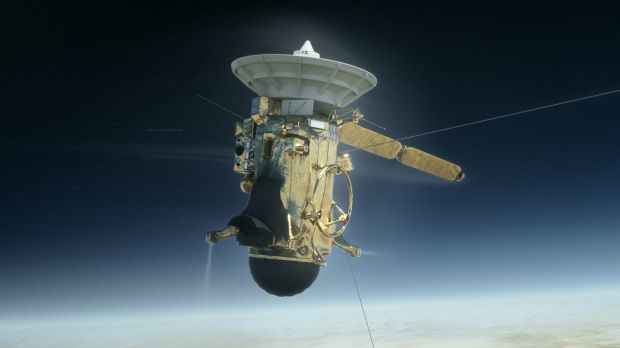 An artists' impression of Cassini entering the atmosphere.