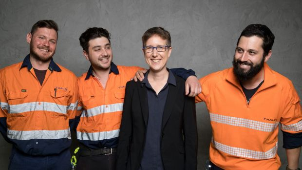 Head of the ACTU, Sally McManus, with Adam Simpson, Jordan Waddell and Darren Gray, in Sydney after the MoU between ...