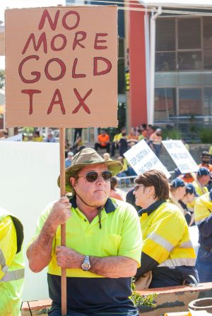 More than 1000 people associated with the gold sector rallied against the WA government's proposed 50 per cent increase ...