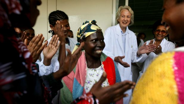 Dr Catherine Hamlin, third from right, with staff and patients in Ethiopia, was awarded the 2018 NSW Senior Australian ...