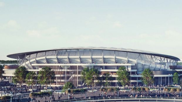 An artist's impression of what the new Allianz Stadium will look like. The stadium is built entirely on SCG Trust land.