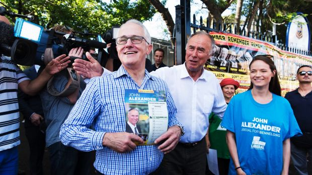 Prime Minister Malcolm Turnbull with Liberal candidate John Alexander at Gladesville Public School.