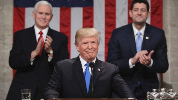 US President Donald Trump delivers his first State of the Union address on January 30 as Vice-President Mike Pence and ...