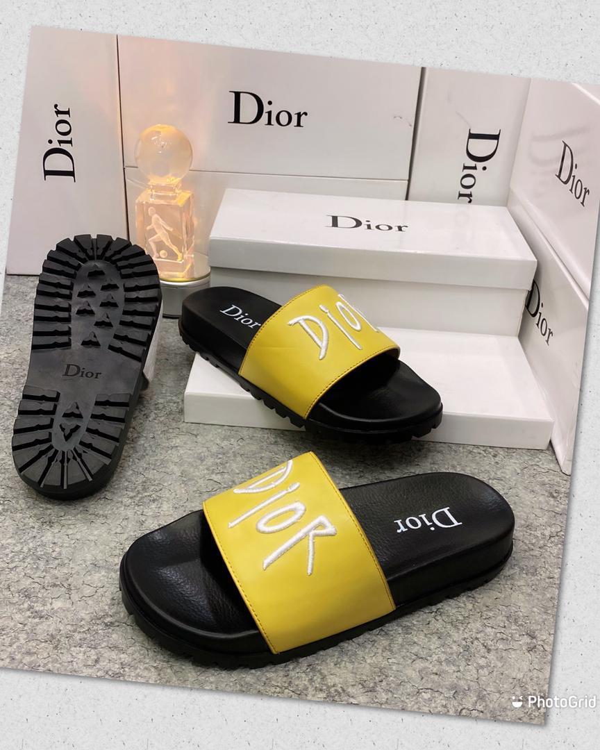 Yellow Dior Slides