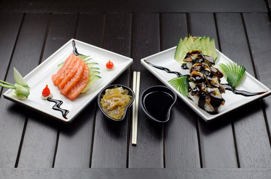 plates of fresh sashimi