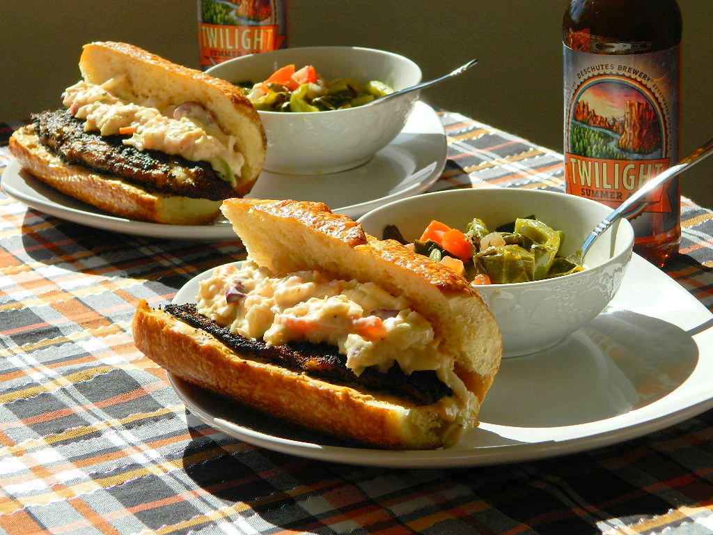 Blackened Cajun Tilapia Po-Boys with Remoulade