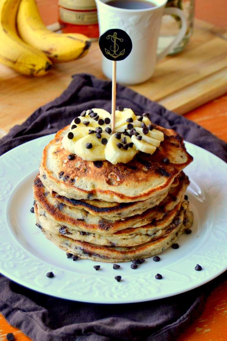 Rum Spiked Chocolate Chip Banana Pancakes