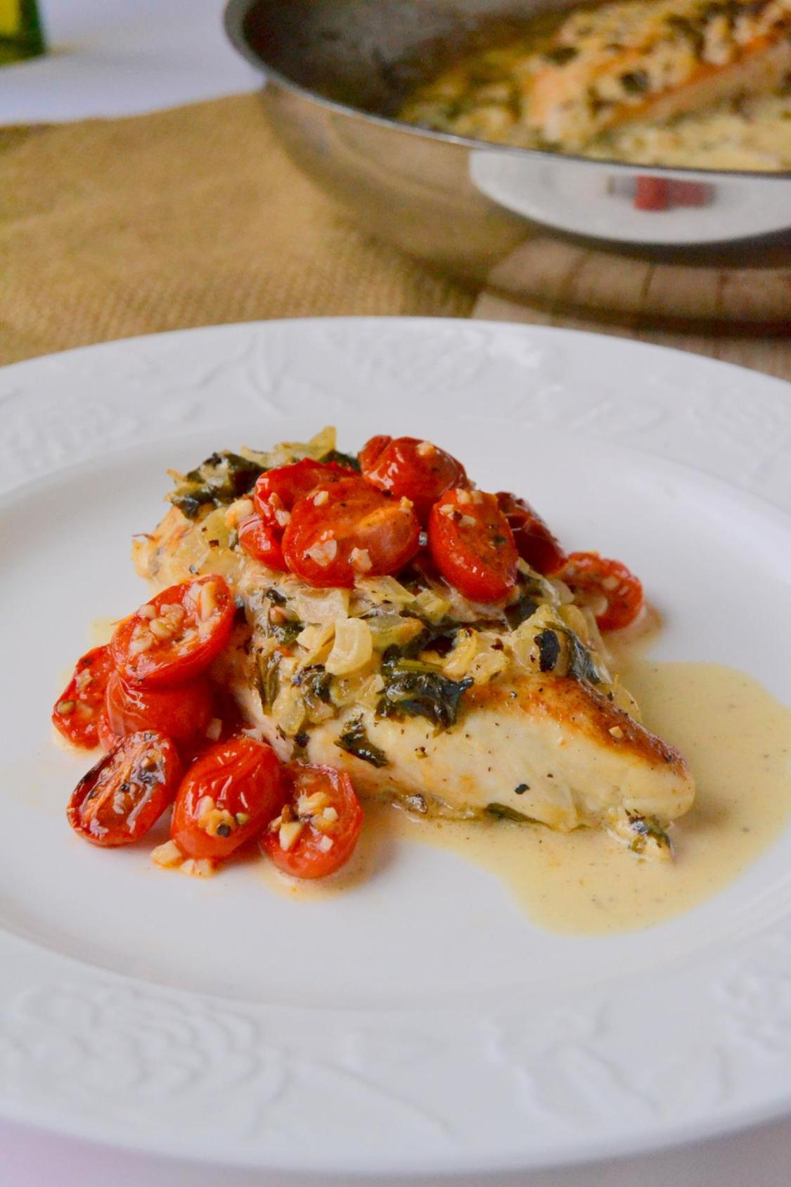 Tattooed Martha - Chicken in Basil Cream Sauce with Roasted Tomatoes (8)