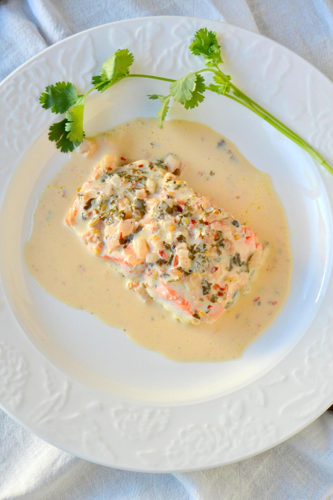 Salmon in Cilantro Lime Cream Sauce on TattooedMartha.com (5)
