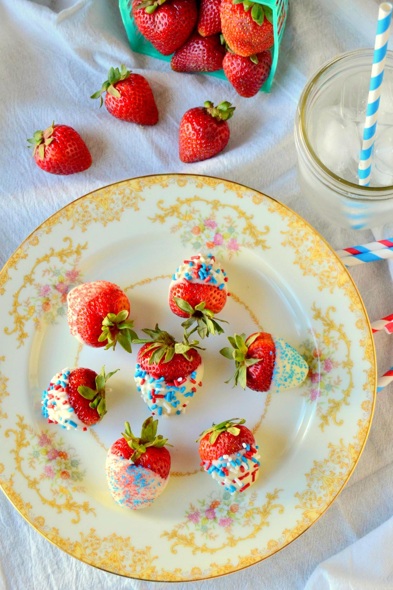 White Chocolate and Sprinkle Covered Strawberries