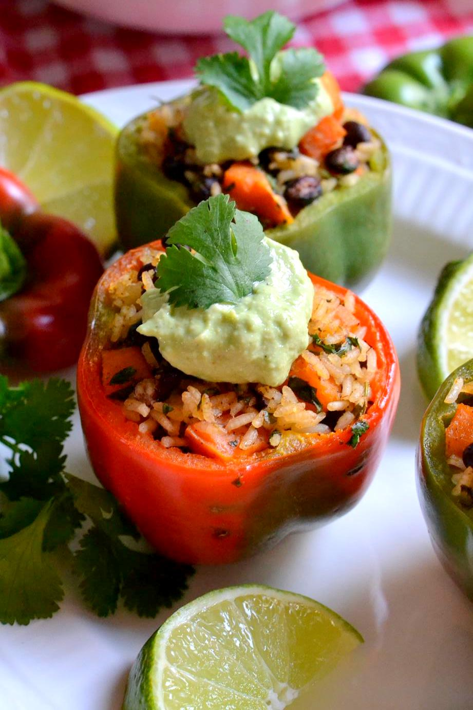 Sweet Potato and Black Bean Stuffed Peppers with Avocado Yogurt Sauce