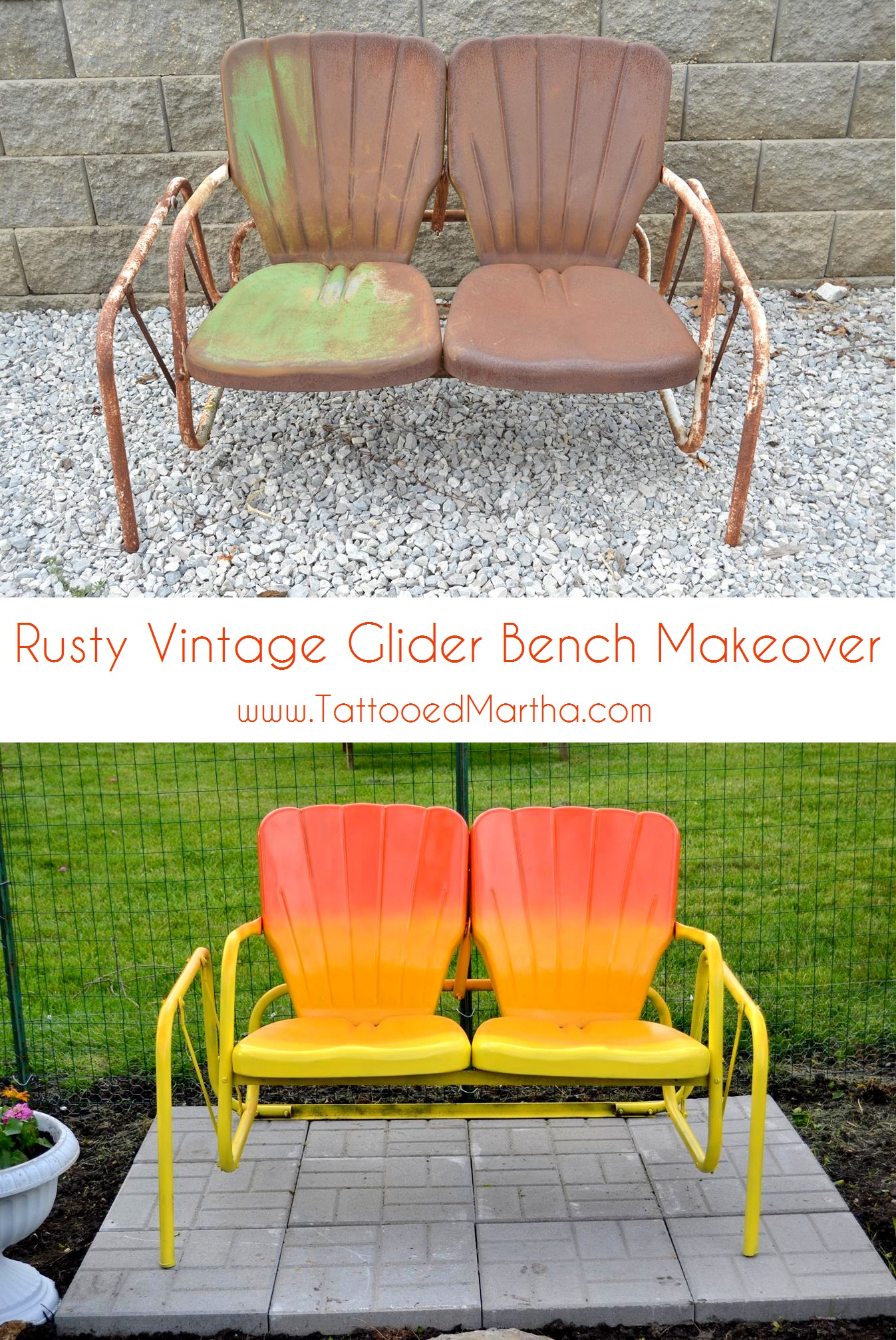 Rusty Vintage Glider Bench Makeover