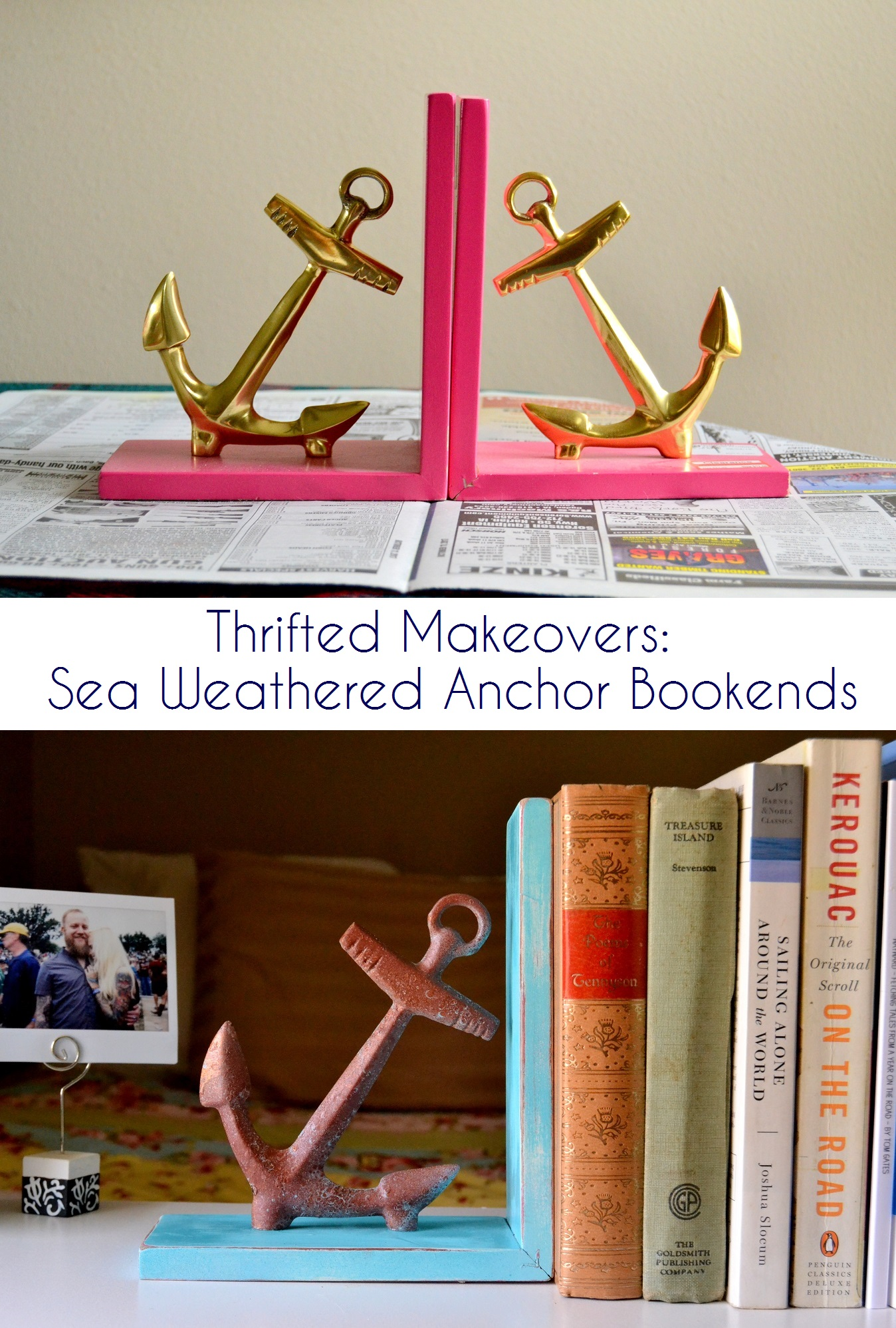 Thrifted Makeovers: Sea Weathered Anchor Bookends