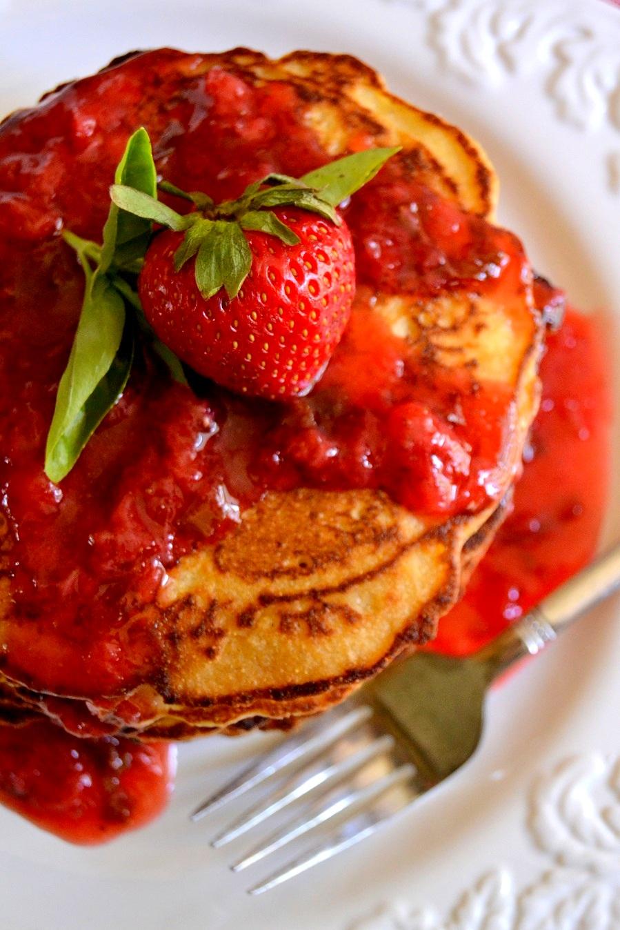 Cornmeal Pancakes with Strawberry Basil Syrup