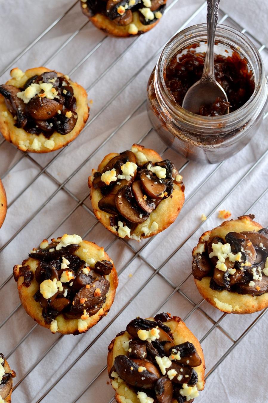 Mushroom Tartlets with Caramelized Onion Jam