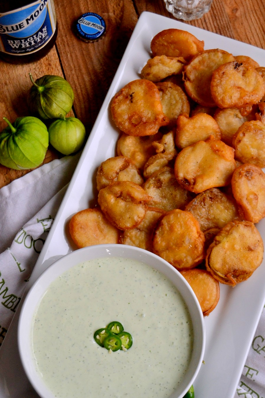 Beer Battered Tomatillos with Serrano Yogurt Dipping Sauce
