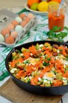 One Skillet Potato Hash with Red Pepper Sauce