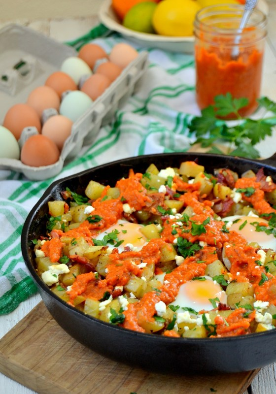 Fair Robin Revival - One Skillet Potato Hash with Red Pepper Sauce
