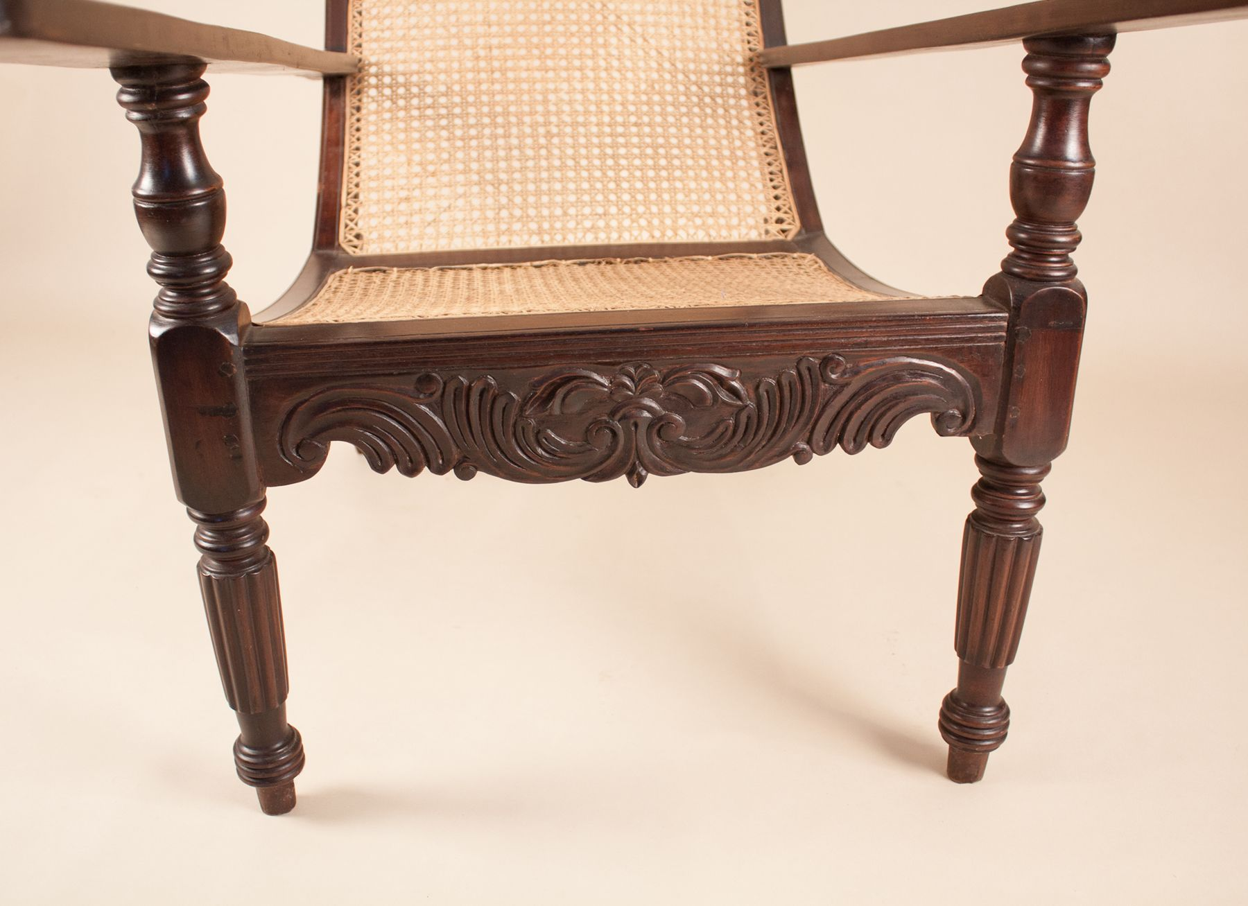 Antique Anglo Indian Exotic Hardwood Caned Planters Chair