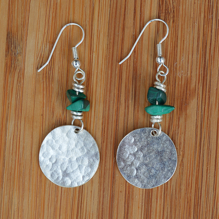 Silver plated disc + malachite chip earrings JEMS56