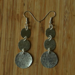 Fair Trade Silver plate three coin small earrings JEBS1