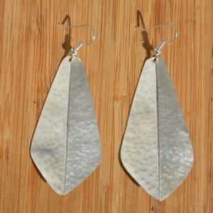 Fair Trade Silver plated 3D large triangle earrings JELS8