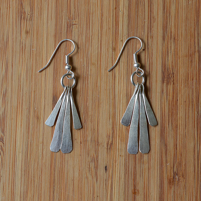 Fair Trade Silver plated four petal earrings JEMS64