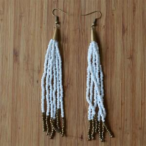 Fair Trade Long white and gold bead earrings JEBEwg