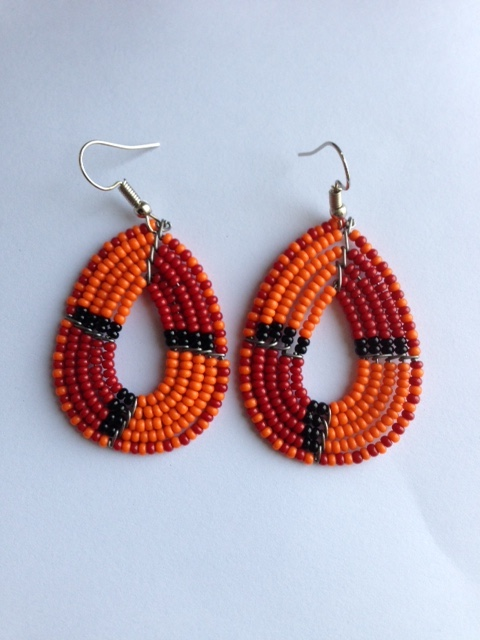 Oval, red, orange, black bead earrings JEBdrob