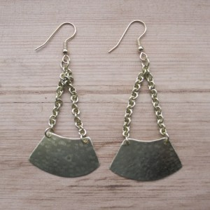 Fair Trade Brass curve on chains earrings JEMB9