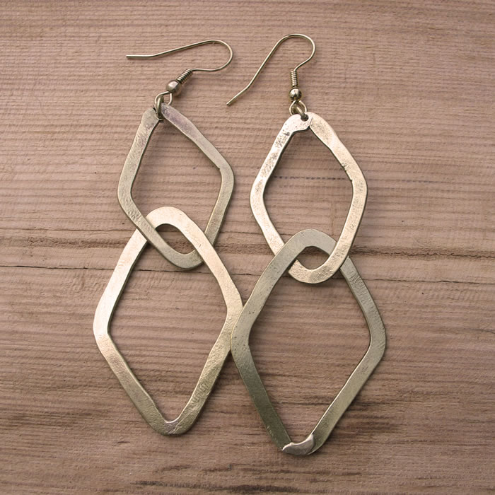 Fair Trade Brass interlocking diamonds earrings JEBB5